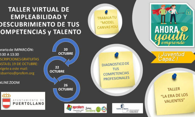 Ya está abierta la inscripción del taller virtual de empleabilidad de jóvenes de 16 a 29 años