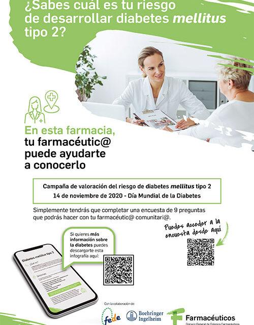 Una encuesta en farmacias permitirá conocer el riesgo de padecer diabetes mellitus tipo 2 de los españoles