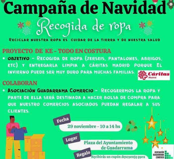 La Asociación Guadarrama Comercio premia con descuentos a los que colaboren en la recogida solidaria de ropa