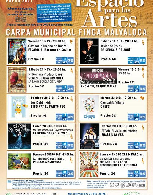 Arranca 'Espacio para las Artes', el nuevo programa cultural del Ayuntamiento de Collado Villalba en la Carpa de la Malvaloca