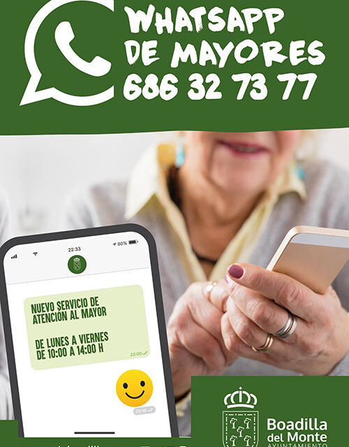 El Ayuntamiento de Boadilla pone en marcha un nuevo servicio de atención al mayor a través de Whatsapp