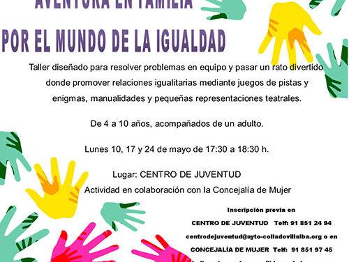 Abierto el plazo de inscripción en el taller 'Aventura en familia por el mundo de la Igualdad'