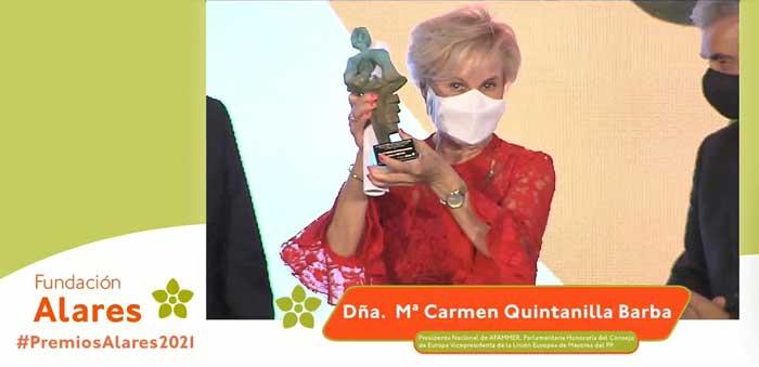 """""""Carmen Quintanilla recibe el Premio Nacional a la Conciliación y la Corresponsabilidad de la Fundación Alares"""""""